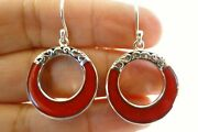 Red Coral Circle Ornate 925 Sterling Silver Dangle Earrings
