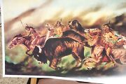 William Verdult Hand Signed Print Indians On Horses Hunting Buffalo 1985