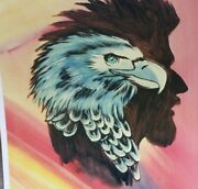 Hand Signed 1985 William Verdult Print Eagle Next To A Manand039s Head Or Inside