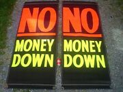 Two Vintage Car Dealer ''no Money Down'' Canvas Signs 7' Feet Tall