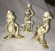 3 Vintage Enesco Porcelain Clowns Older 1950and039s 1960and039s Rare