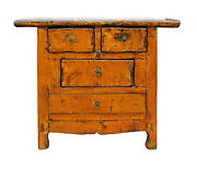 Chinese Rustic Rough Wood Distressed Orange Side Table Cabinet Cs2498