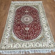 Yilong 4and039x6and039 Red Handmade Carpets Old Hand Knotted Antique Silk Area Rug Y215c