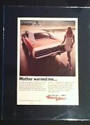 1969 Dodge Scat Cat Charger R/t Mother Warn Mopar Print Car Ready To Displayad