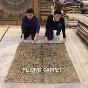 Yilong 4and039x6and039 Vintage Handmade Classic Silk Carpet Hand Knotted Area Rugs 016b