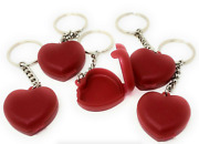Tupperware Glitter Heart Shaped Keychains Pill Storage Containers Set 5 New