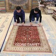 Yilong 4and039x6and039 Red Handmade Home Carpet Flowers Hand Knotted Silk Area Rug 197a