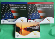 2014 Proof And Uncirculated Two Annual Us Mint Coin Sets Pds 42 Coins Complete