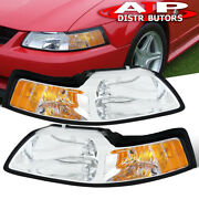 Chrome Amber Replacement Head Lights Lamps Lh Rh Set For 1999-2004 Ford Mustang
