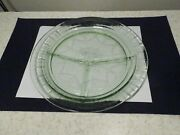 Anchor Hocking Cameo / Ballerina Green Depression Glass Divided Grill Plate