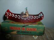 Vtg Toy Canoe Celluloid Native American Indian Souvenir With Box