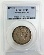 1872 H Canada Newfoundland Fifty Cent Silver Coin Certified By Pcgs As Xf 45 50c