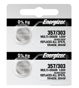Energizer 357/303 Silver Oxide Coin Cell Batteries 2 Pack Tear Stripnew