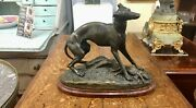 Jean Gechter Late 19th Century French Bronze Casting Of A Whippet