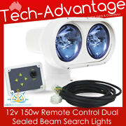 12v White 150w Boat Roof Front Bow Mount Remote Control Dual Beam Search Light