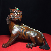9.44 Old Chinese Antique Red Copper Gilt 24k Goldandsilver Unicorn Statue