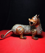 12.99 Old Chinese Antique Red Copper Gilt 24k Goldandsilver Recruit Wealth Beast