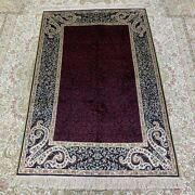 Yilong 3and039x5and039 Purple Handcraft Carpet Sitting Room Hand Knotted Silk Rug 259b