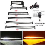 Off Road Curved Led Light Bar Amber/white/strobeflash Remote And Wiring Harness
