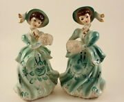 Vintage Lipper And Mann Victorian Lady Figurines Hand Painted Porcelain