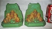 Antique Ronson Usa Pekingese Chinese Toy Dog Art Parrot Sculpture Metal Bookends