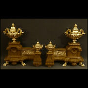 Paire Dand039importants Chenets Xixandegraveme - Pair Of Large Andirons Xixth