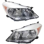 Headlight Lens And Housing For 2012-2014 Toyota Yaris Left And Right Pair