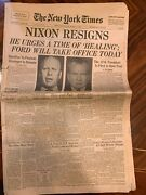 The New York Times Newspaper Friday August 9 1974 Nixon Resigns