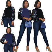 Sexy Women Solid Color Mesh Sequined Patchwork Puff Sleeve Ol Casual Blouse
