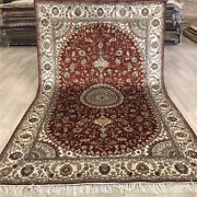 Yilong 5and039x8 Red Home Decor Classic Silk Rug Traditional Hand Knotted Carpet 478c