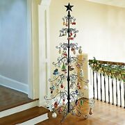 36 And 84 Metal Scroll Christmas Ornament Display Trees In Black And Gold Colors