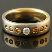 Christian Bauer Two Tone Solid 18k Gold And Diamond Wedding Band Estate Ring