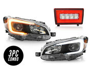 Sti Style Switchback C Led Headlight +3in1 Red Reverse Unit For 15-19 Wrx Depo