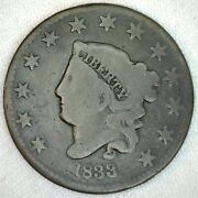 1833 Coronet Head Us One Cent Penny Coin 1c Large Cent Copper Coin Good