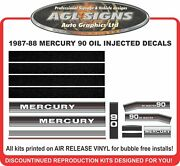 1987 1988 Mercury 90 Hp Oil Injected Reproduction Outboard Decal Kit Graphics