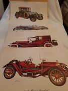 Lot Of 4 Fantastic Antique Old Vintage Cars Pictures Painting Wall Art By Robert