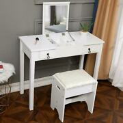 Vanity Makeup Dressing Table Set 2 Drawers W/stool And Flip-top Mirror White