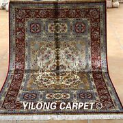 Yilong 4and039x6and039 Handmade Silk Rugs Floor Flowers Design Hand-knotted Carpets 1916