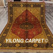Yilong 6and039x9and039 Antique Golden Carpet Porch Hand Knotted Floor Silk Area Rug G44c