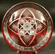 Wonderful French Baccarat Crystal Round Tray Red Ruby Cut To Clear Ca 1900 Rare