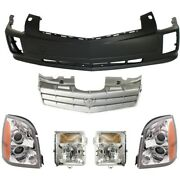Bumper Cover And Headlight Kit For 2006-09 Cadillac Srx Front With Washer Holes