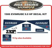 1986 Evinrude 9.9 Reproduction Outboard Decal Kit Graphics 15 Hp