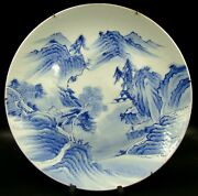 19th Japanese Imari Arita Blue And White Porcelain Charger Painted Mountain Scenes