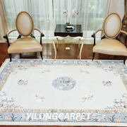 Yilong 6and039x9and039 White Plain Hand Knotted Chinese Art Deco Wool Rugs Craft Carpets