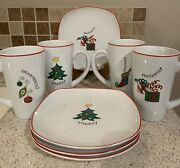 8 Pc Fitz And Floyd Set Gourmet Happy Holidays Christmas Plates And Latte Mugs
