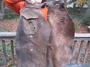 Antique Vintage Wild Western Cowboy Chaps Batwing Leather And Pockets Real Deal