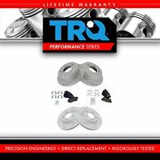 Trq Front Rear Ceramic Disc Brake Pad Performance Drilled Slotted Coated Rotors