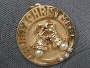 Vintage 14k Gold Pendant With Pearls. Merry Christmas. 11 Grams