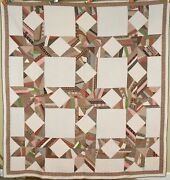 Gorgeous Vintage 1870and039s Touching Stars Antique Quilt Nice Early Brown Fabrics