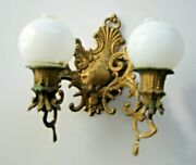 Antique German Doll House Miniature Gilt Painted Pewter Large Double Sconce
